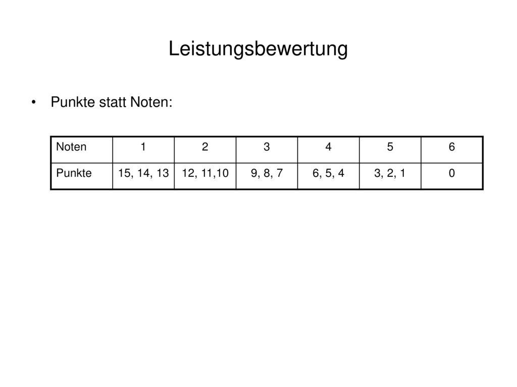Leistungsbewertung Punkte statt Noten: Noten 1 2 3 4 5 6 Punkte
