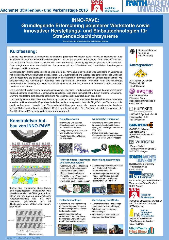 INNO-PAVE: Grundlegende Erforschung polymerer Werkstoffe sowie innovativer Herstellungs- und Einbautechnologien für Straßendeckschichtsysteme Gefördert durch das Bundesministerium für Bildung und Forschung