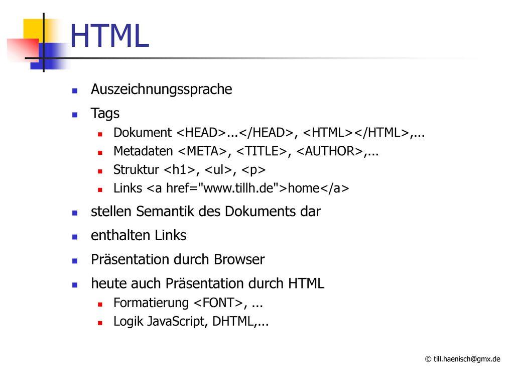 HTML Auszeichnungssprache Tags stellen Semantik des Dokuments dar