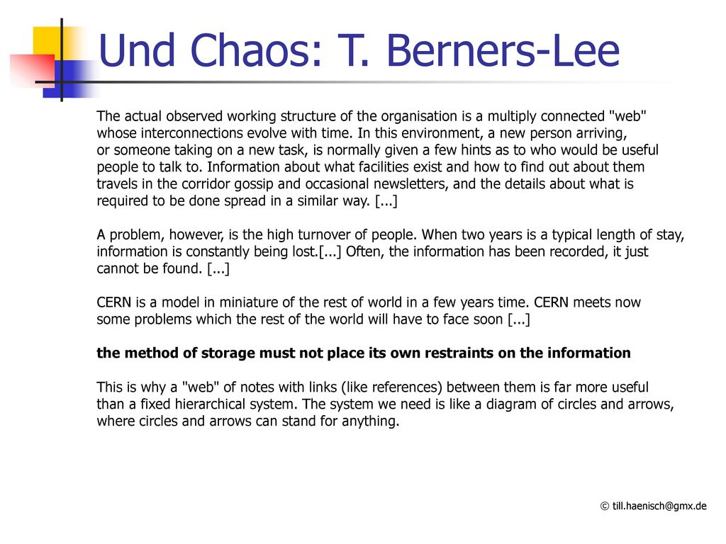 Und Chaos: T. Berners-Lee