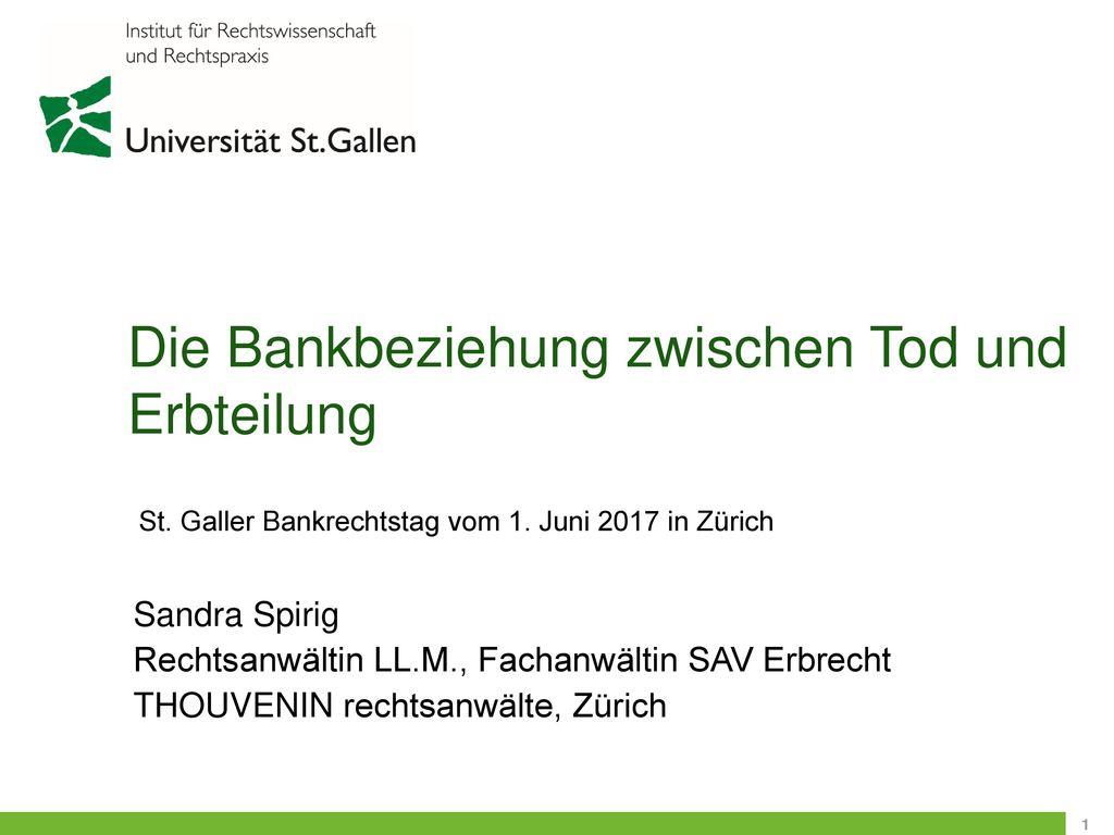 Die Bankbeziehung zwischen Tod und Erbteilung
