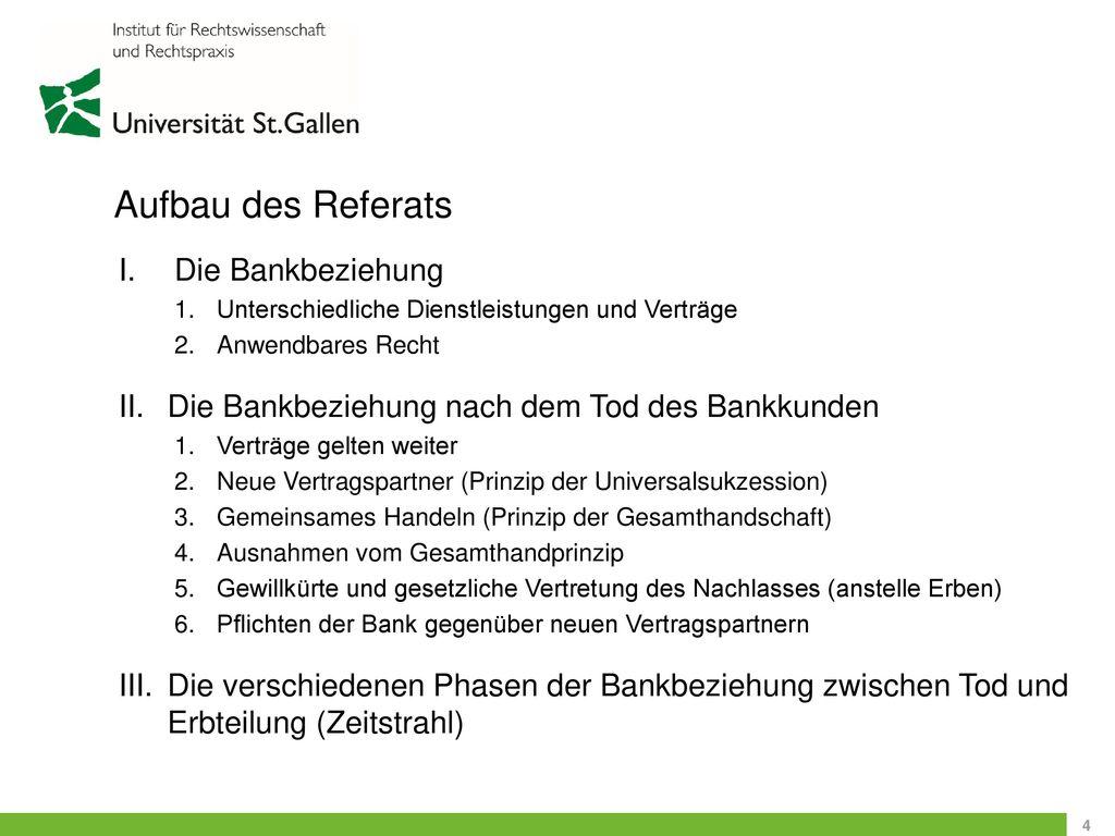Aufbau des Referats Die Bankbeziehung
