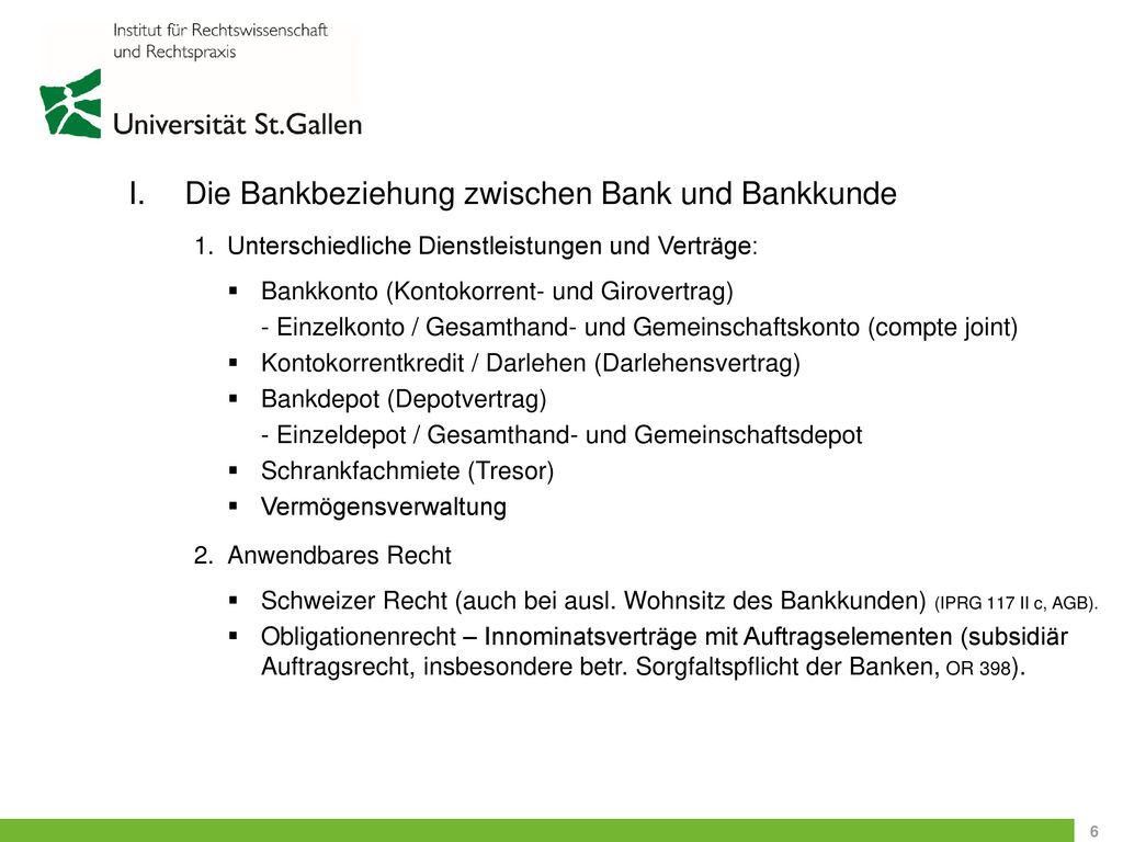 Die Bankbeziehung zwischen Bank und Bankkunde