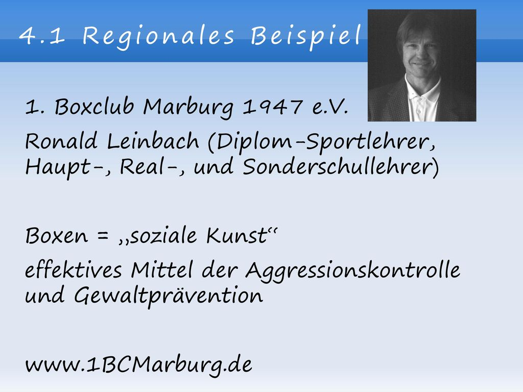 4.1 Regionales Beispiel 1. Boxclub Marburg 1947 e.V.