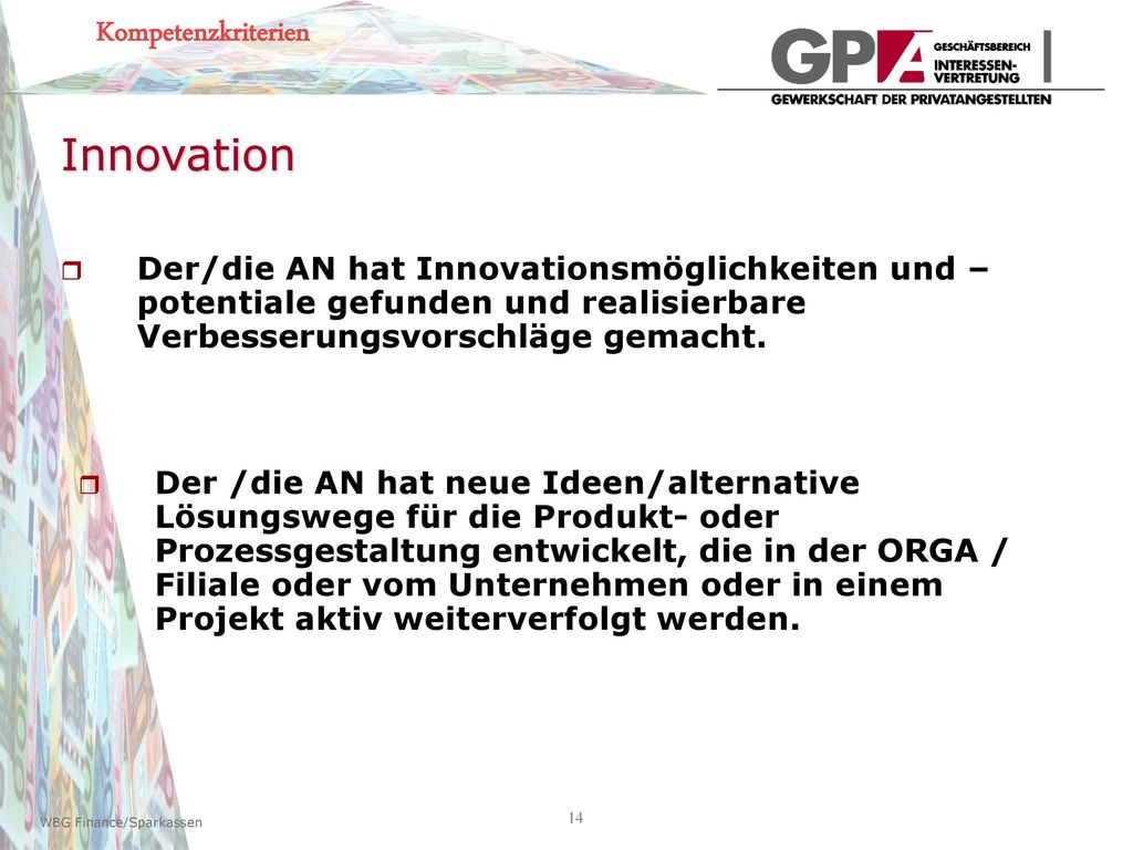 Innovation Kompetenzkriterien
