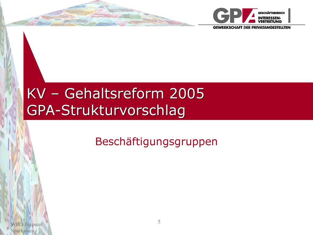 KV – Gehaltsreform 2005 GPA-Strukturvorschlag
