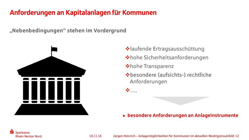Anforderungen an Kapitalanlagen für Kommunen