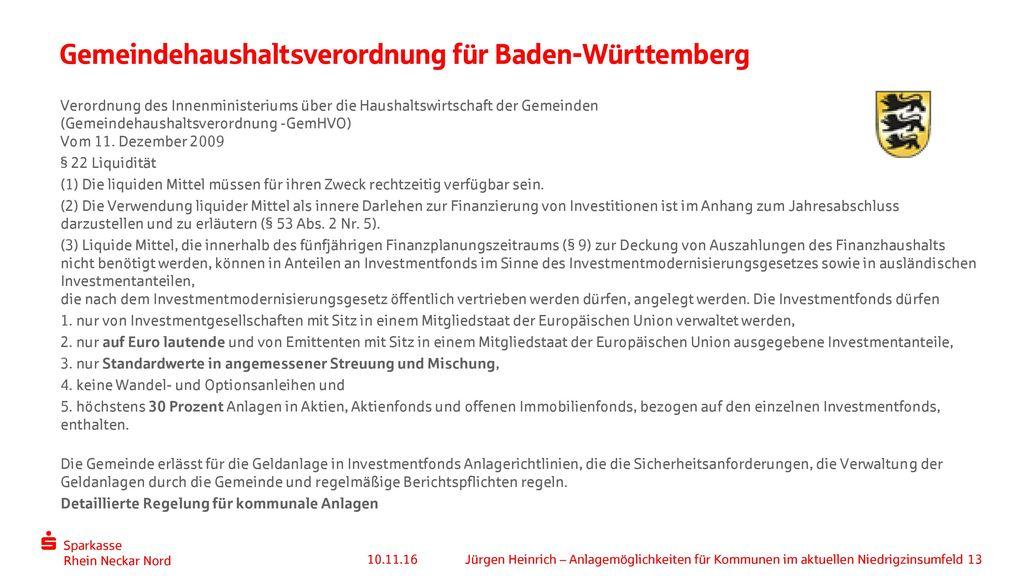 Gemeindehaushaltsverordnung für Baden-Württemberg
