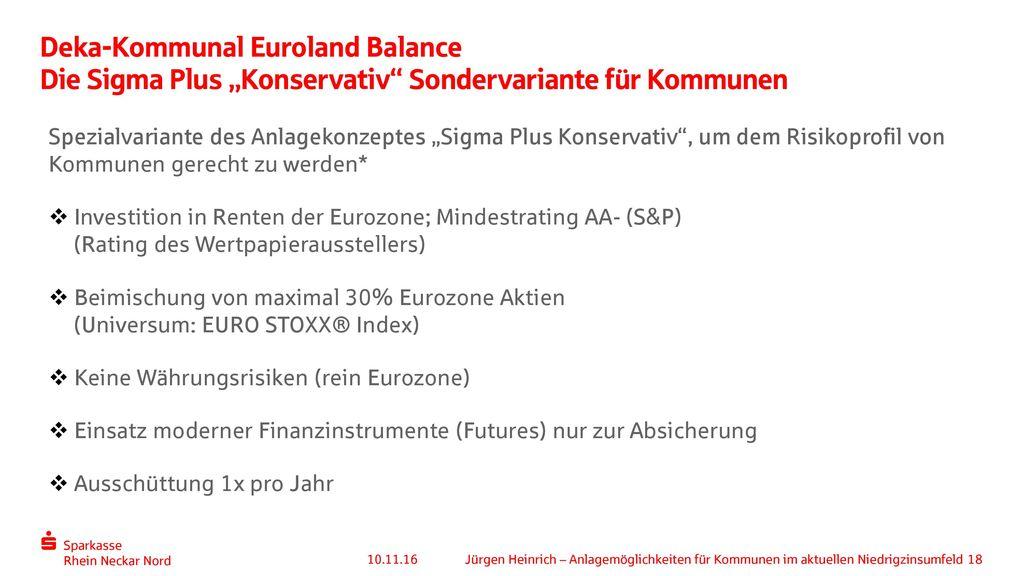 """Deka-Kommunal Euroland Balance Die Sigma Plus """"Konservativ Sondervariante für Kommunen"""