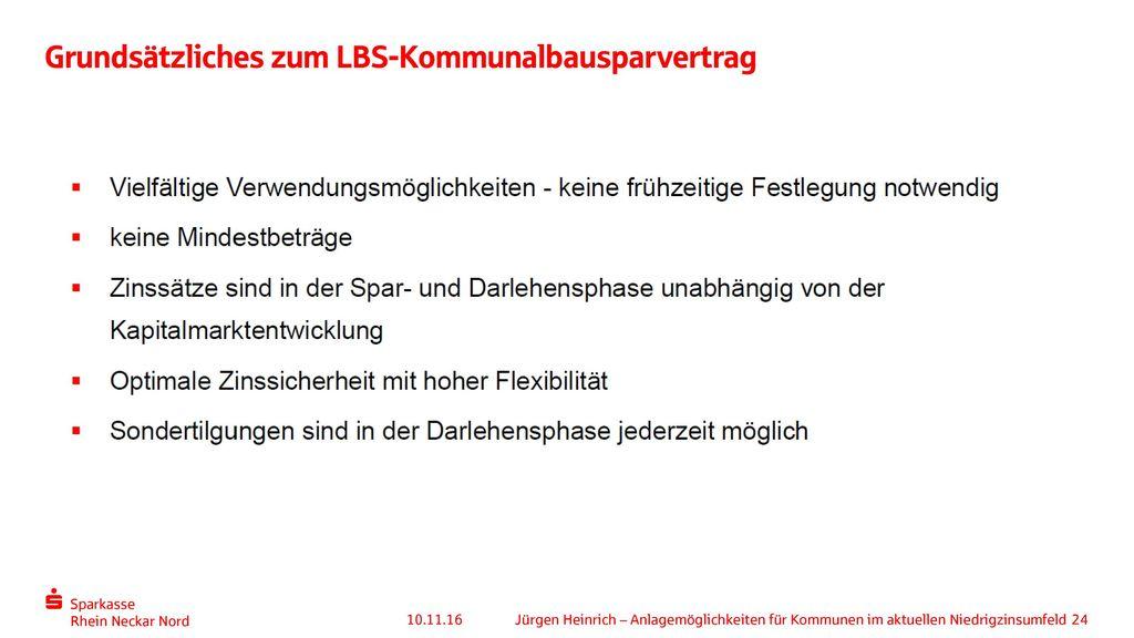Grundsätzliches zum LBS-Kommunalbausparvertrag
