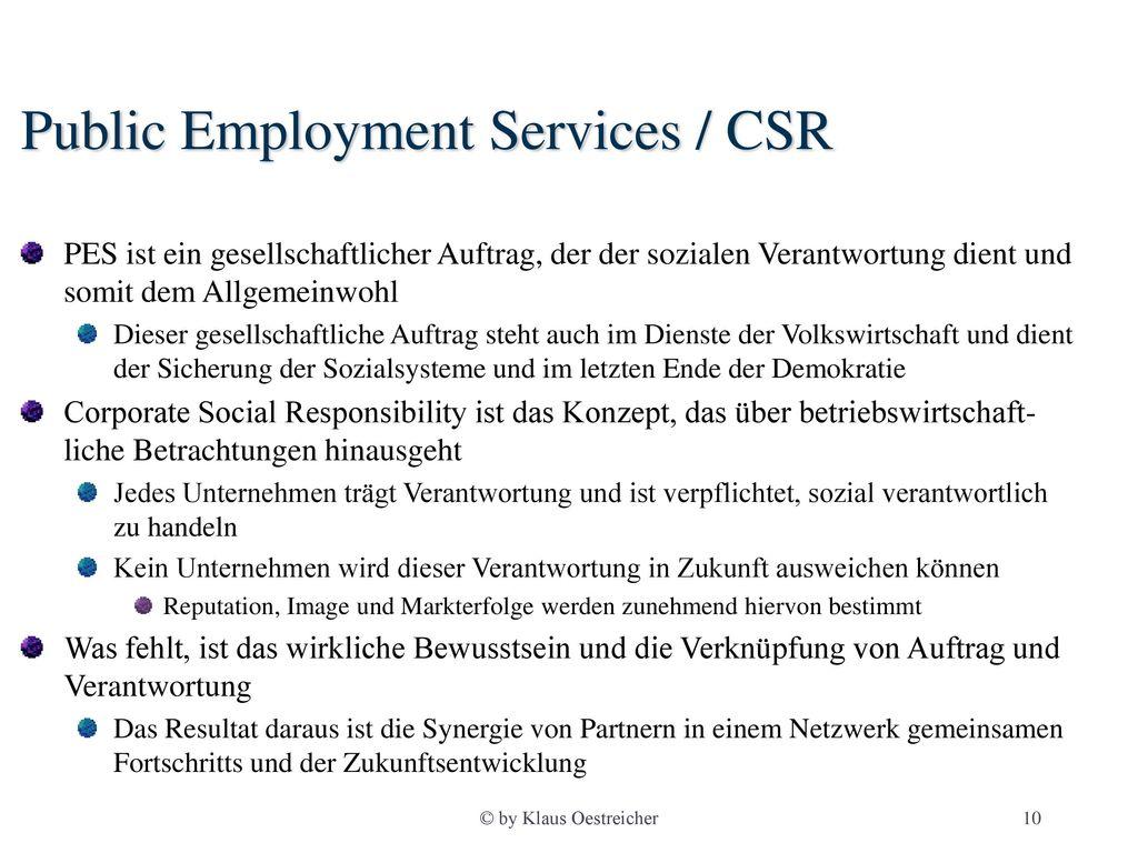 Public Employment Services / CSR