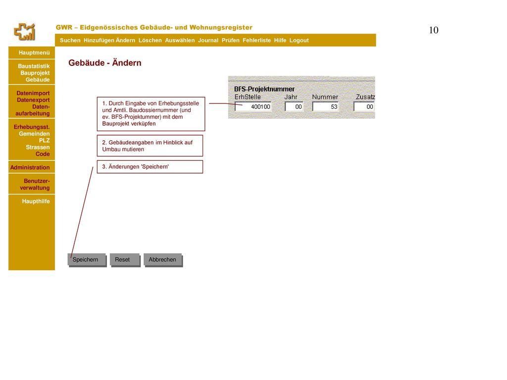 Gebäude - Ändern GWR – Eidgenössisches Gebäude- und Wohnungsregister