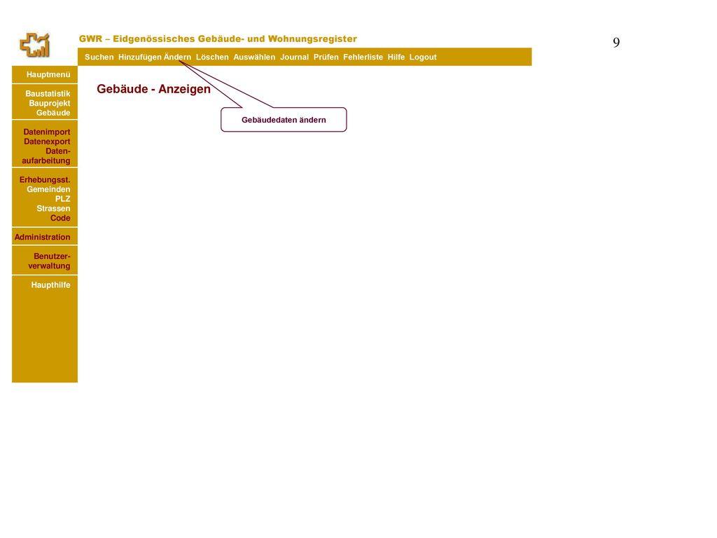Gebäude - Anzeigen GWR – Eidgenössisches Gebäude- und Wohnungsregister