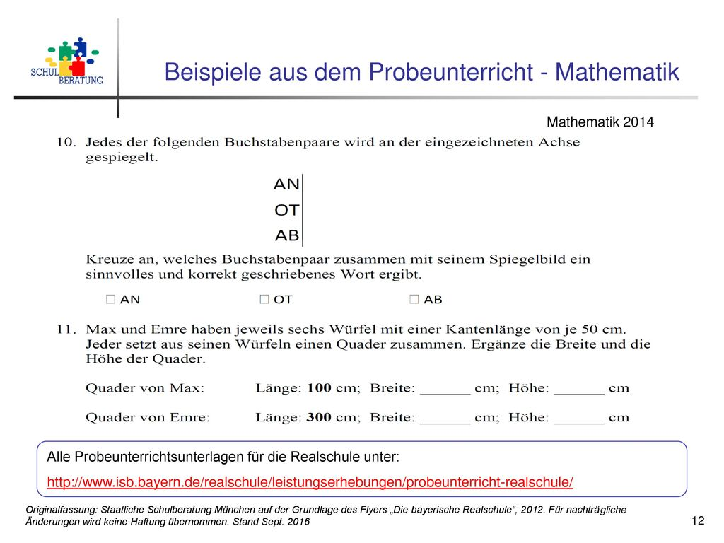 Beispiele aus dem Probeunterricht - Mathematik