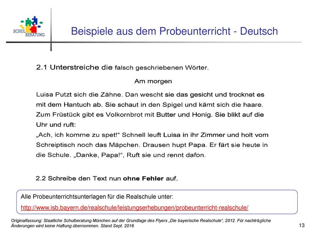 Beispiele aus dem Probeunterricht - Deutsch