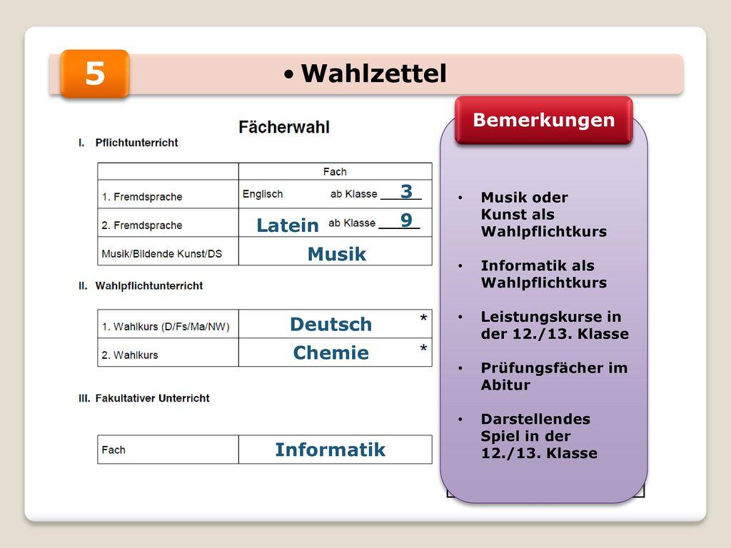 5 Wahlzettel Bemerkungen 3 9 Latein Musik Deutsch Chemie Informatik