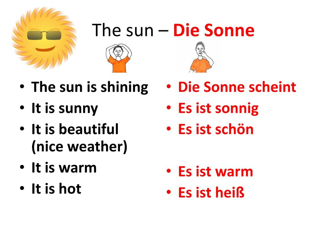 The sun – Die Sonne The sun is shining It is sunny