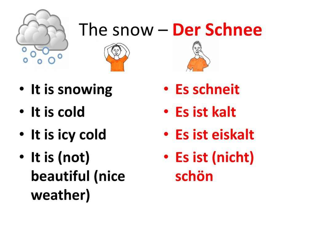 The snow – Der Schnee It is snowing It is cold It is icy cold