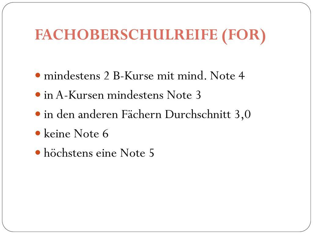 FACHOBERSCHULREIFE (FOR)