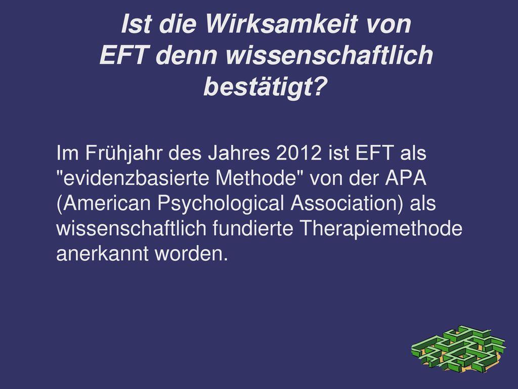 Ist die Wirksamkeit von EFT denn wissenschaftlich bestätigt