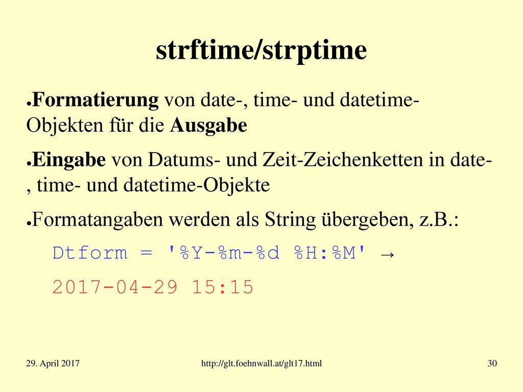 ISO 8601 Internationale Norm zur Darstellung von Zeit und Datum, z.B.: