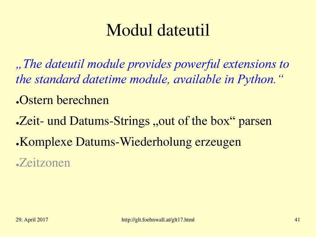 strftime/strptime (einige Formatierungsanweisungen)