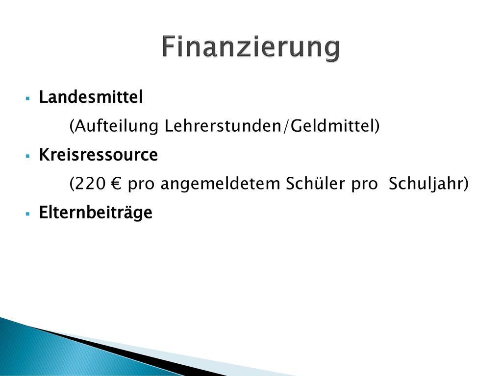 Finanzierung Landesmittel (Aufteilung Lehrerstunden/Geldmittel)