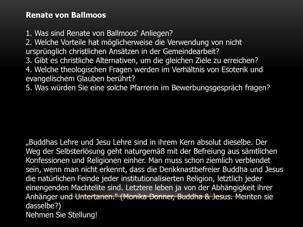 Renate von Ballmoos 1. Was sind Renate von Ballmoos' Anliegen