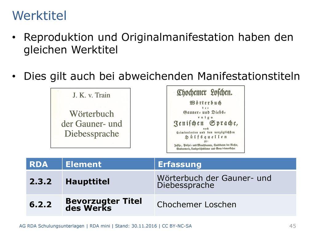 Werktitel Reproduktion und Originalmanifestation haben den gleichen Werktitel. Dies gilt auch bei abweichenden Manifestationstiteln.