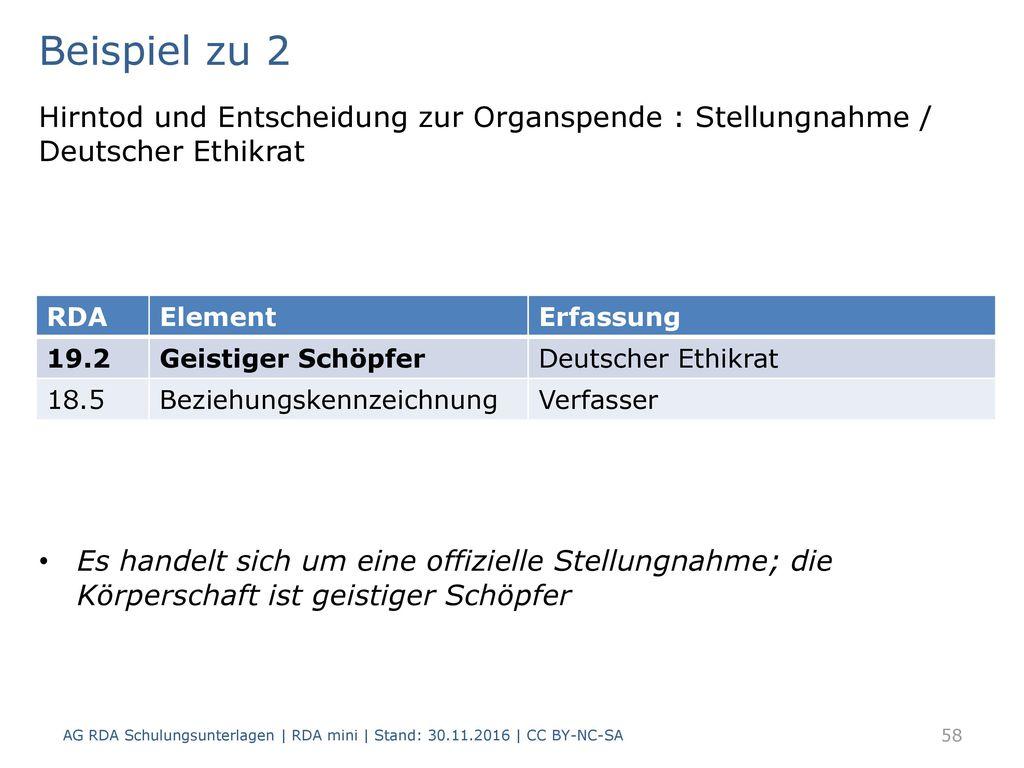 Beispiel zu 2 Hirntod und Entscheidung zur Organspende : Stellungnahme / Deutscher Ethikrat.