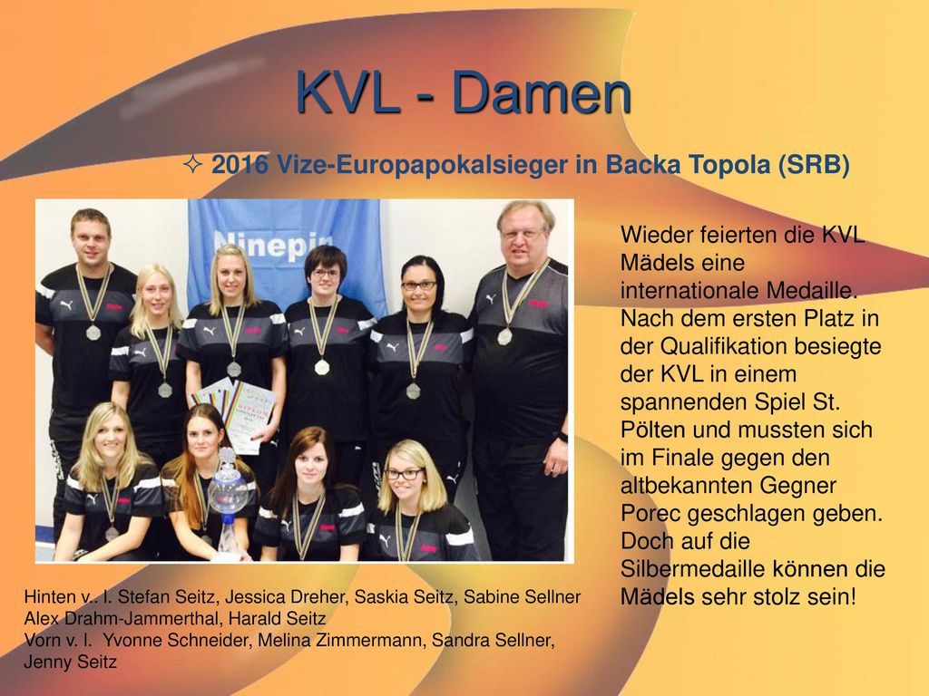 KVL - Damen 2016 Vize-Europapokalsieger in Backa Topola (SRB)