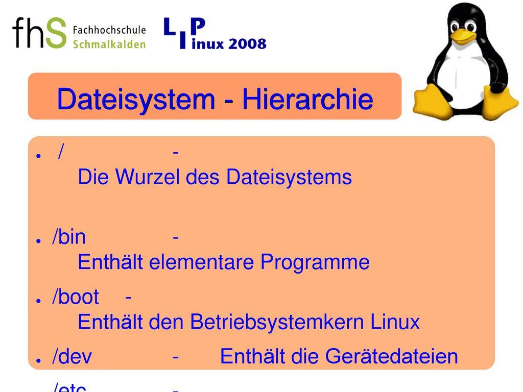 Dateisystem - Hierarchie