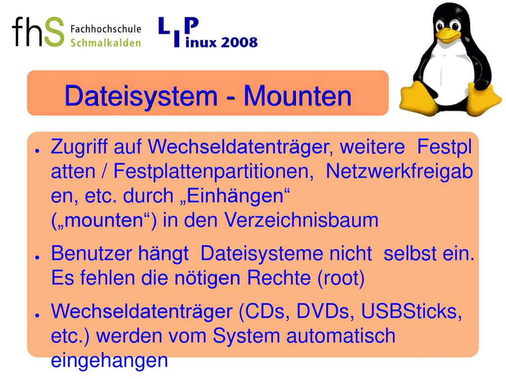 Dateisystem - Mounten
