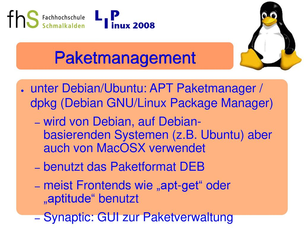 Paketmanagement unter Debian/Ubuntu: APT Paketmanager / dpkg (Debian GNU/Linux Package Manager)