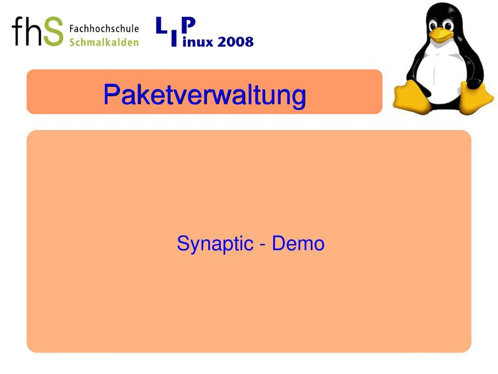 Paketverwaltung Synaptic - Demo