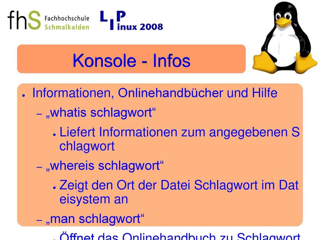 Konsole - Infos Informationen, Onlinehandbücher und Hilfe