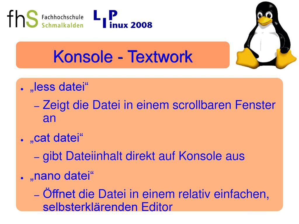 "Konsole - Textwork ""less datei"