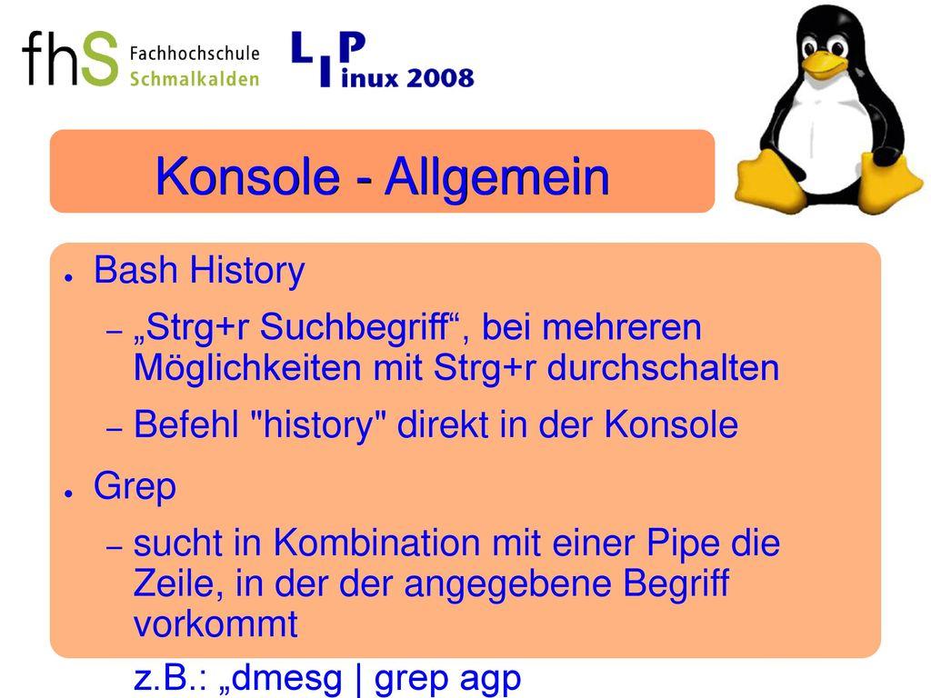 Konsole - Allgemein Bash History