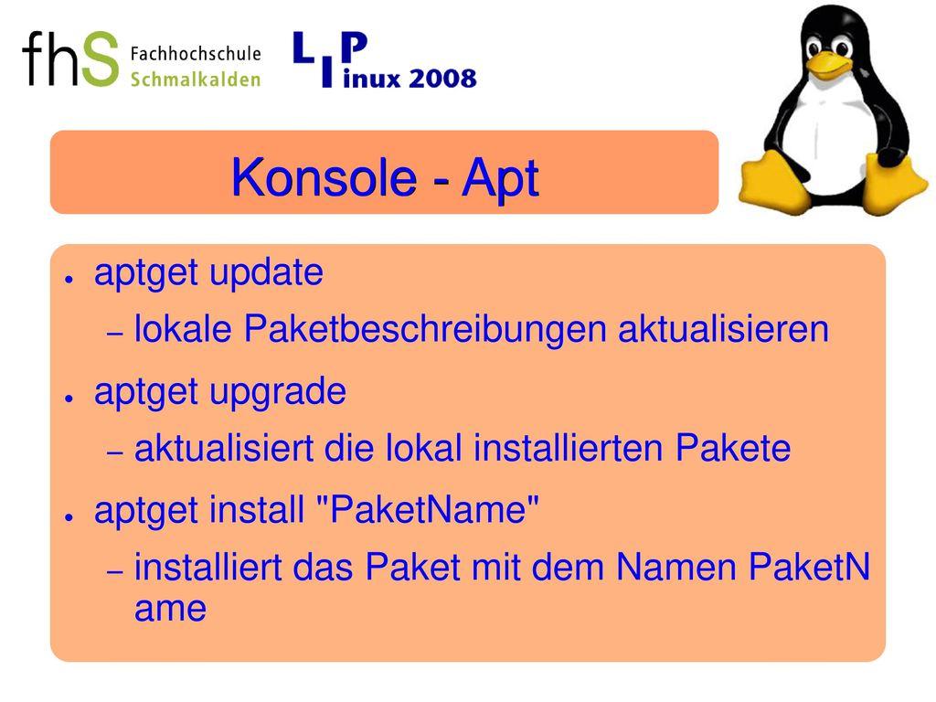 Konsole - Apt aptget update lokale Paketbeschreibungen aktualisieren