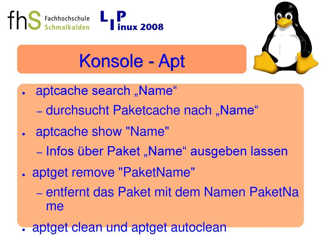 """Konsole - Apt aptcache search """"Name"""