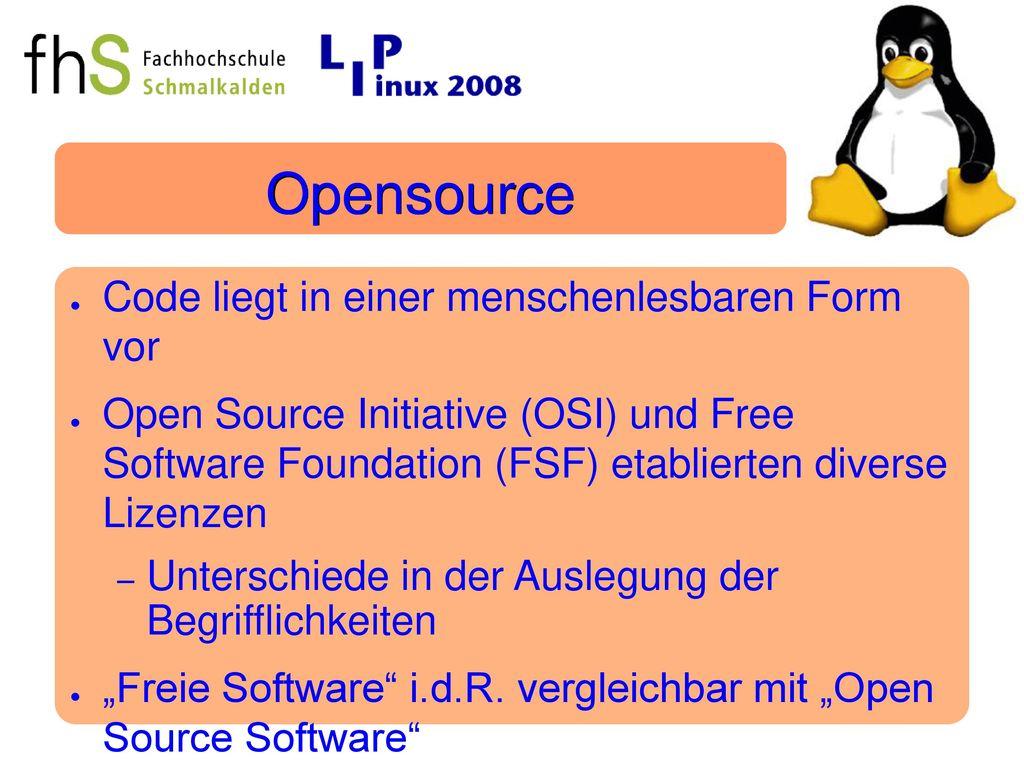 Opensource Code liegt in einer menschenlesbaren Form vor