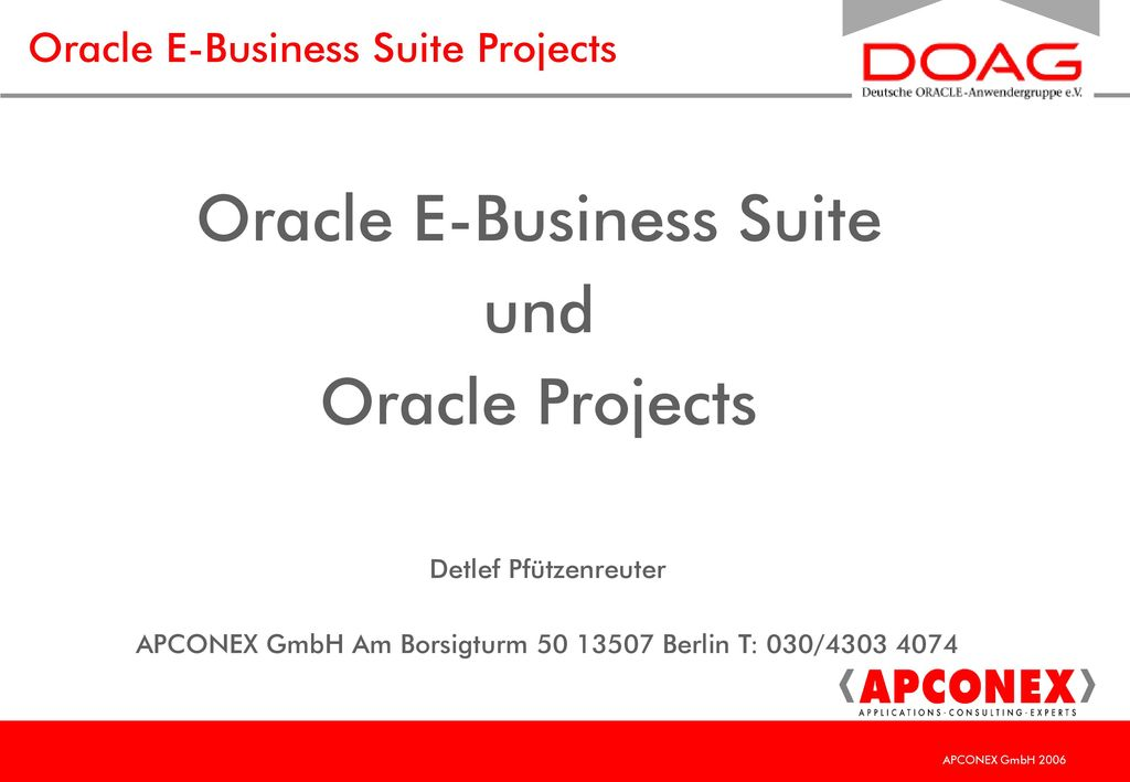 Oracle E-Business Suite Projects