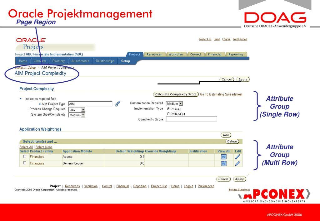 Oracle Projektmanagement