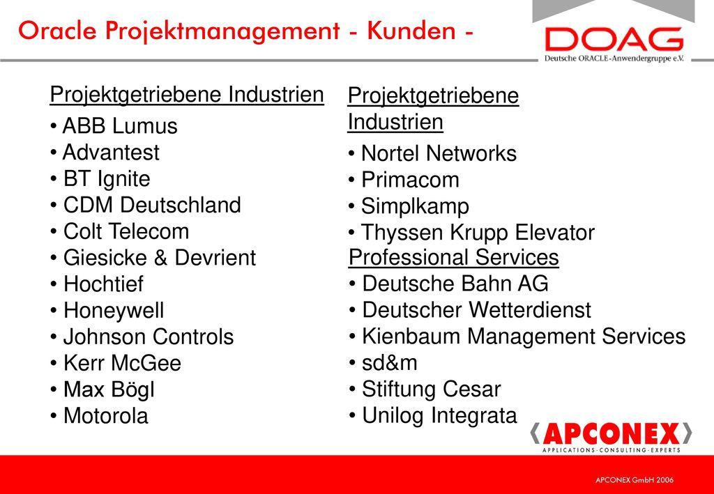 Oracle Projektmanagement - Kunden -