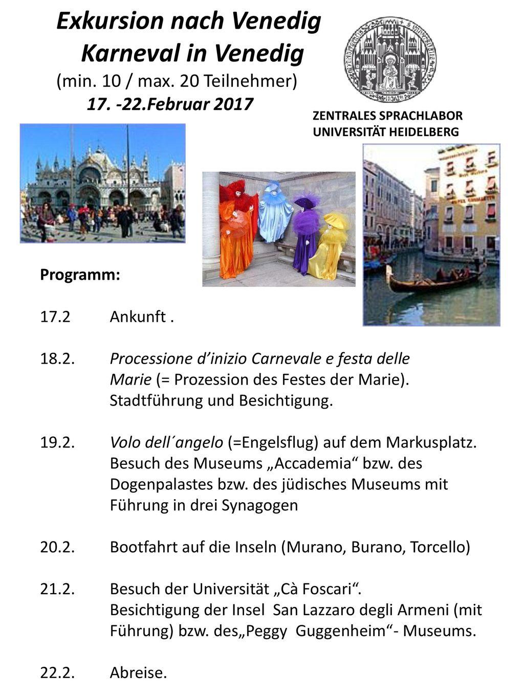 Exkursion nach Venedig Karneval in Venedig