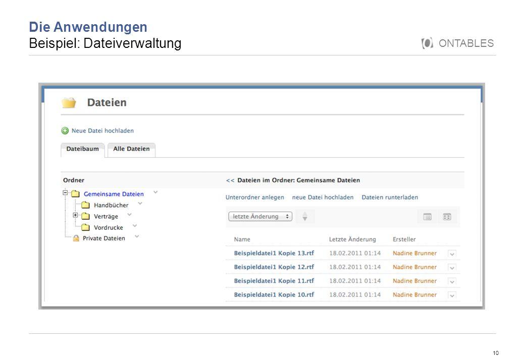 Die Anwendungen Beispiel: Dateiverwaltung