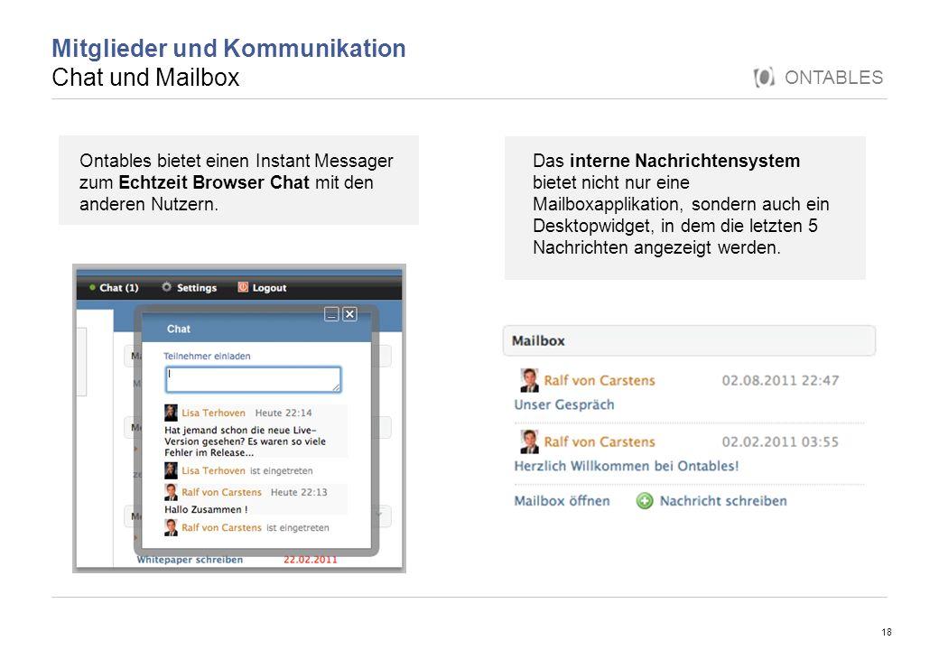 Mitglieder und Kommunikation Chat und Mailbox
