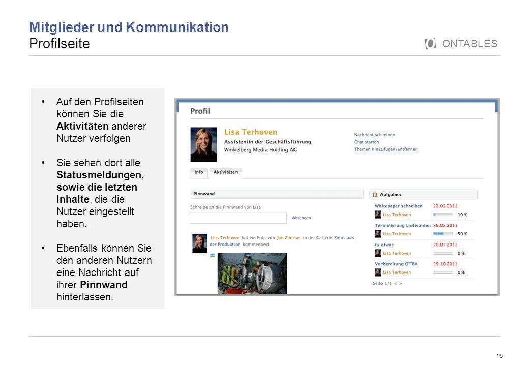 Mitglieder und Kommunikation Profilseite