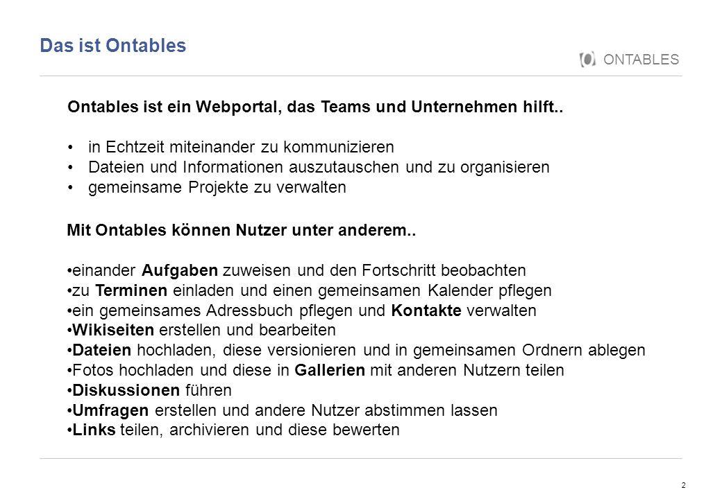 Das ist Ontables ONTABLES. Ontables ist ein Webportal, das Teams und Unternehmen hilft.. in Echtzeit miteinander zu kommunizieren.