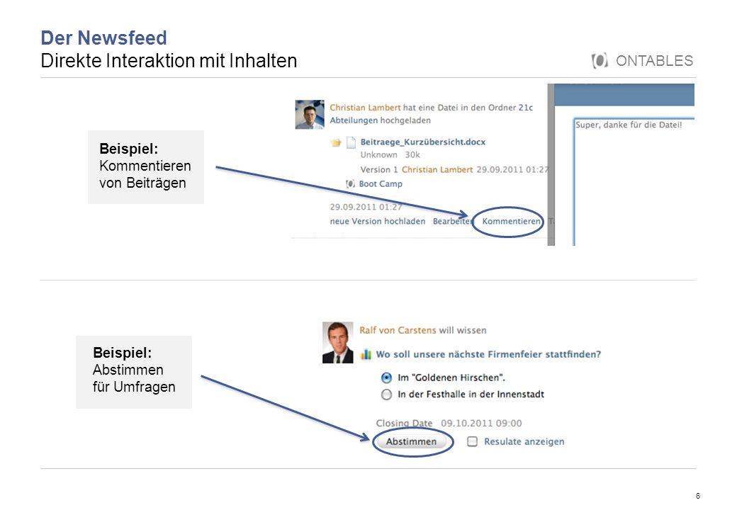 Der Newsfeed Direkte Interaktion mit Inhalten